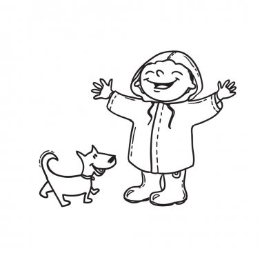 Joyful boy in raincoat with dog. Hand drawn doodle, Spring concept.