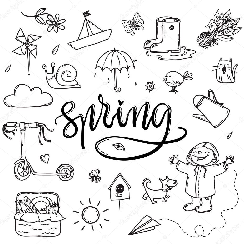 Hand drawn lettering spring funny graphic set. Umbrella, paper b