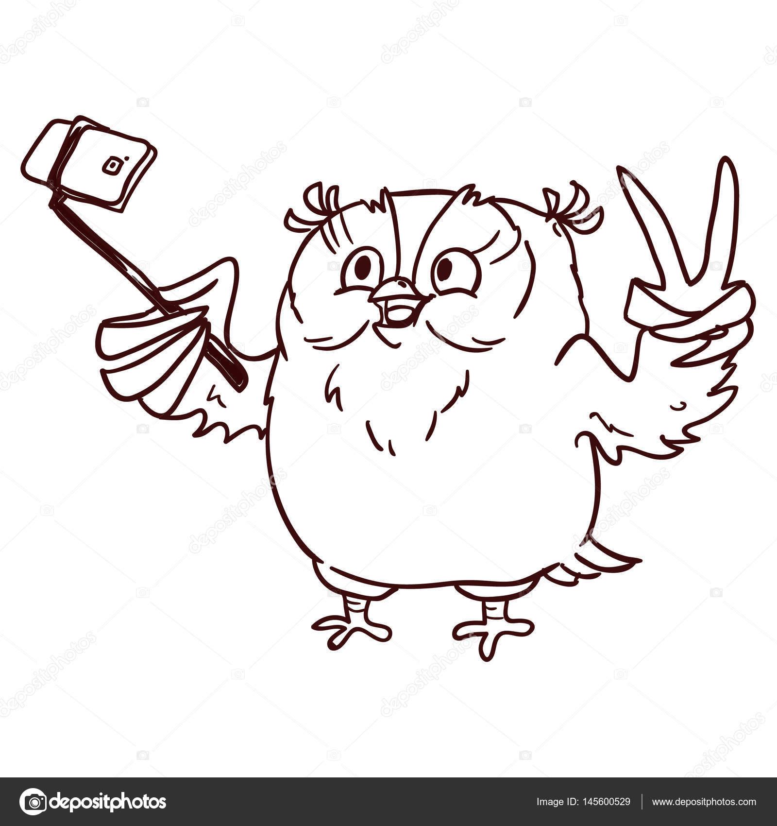 Animado Pollito Con Lentes Bonito Buho Personaje De Dibujos