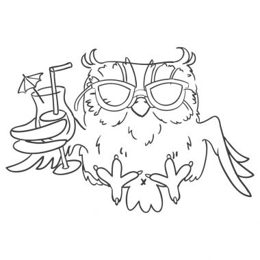 Owl sunglasses with a cocktail