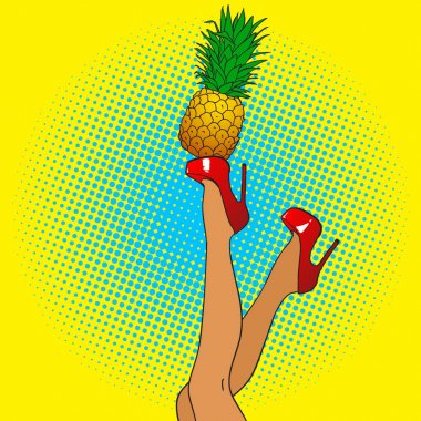 female legs with pineapple