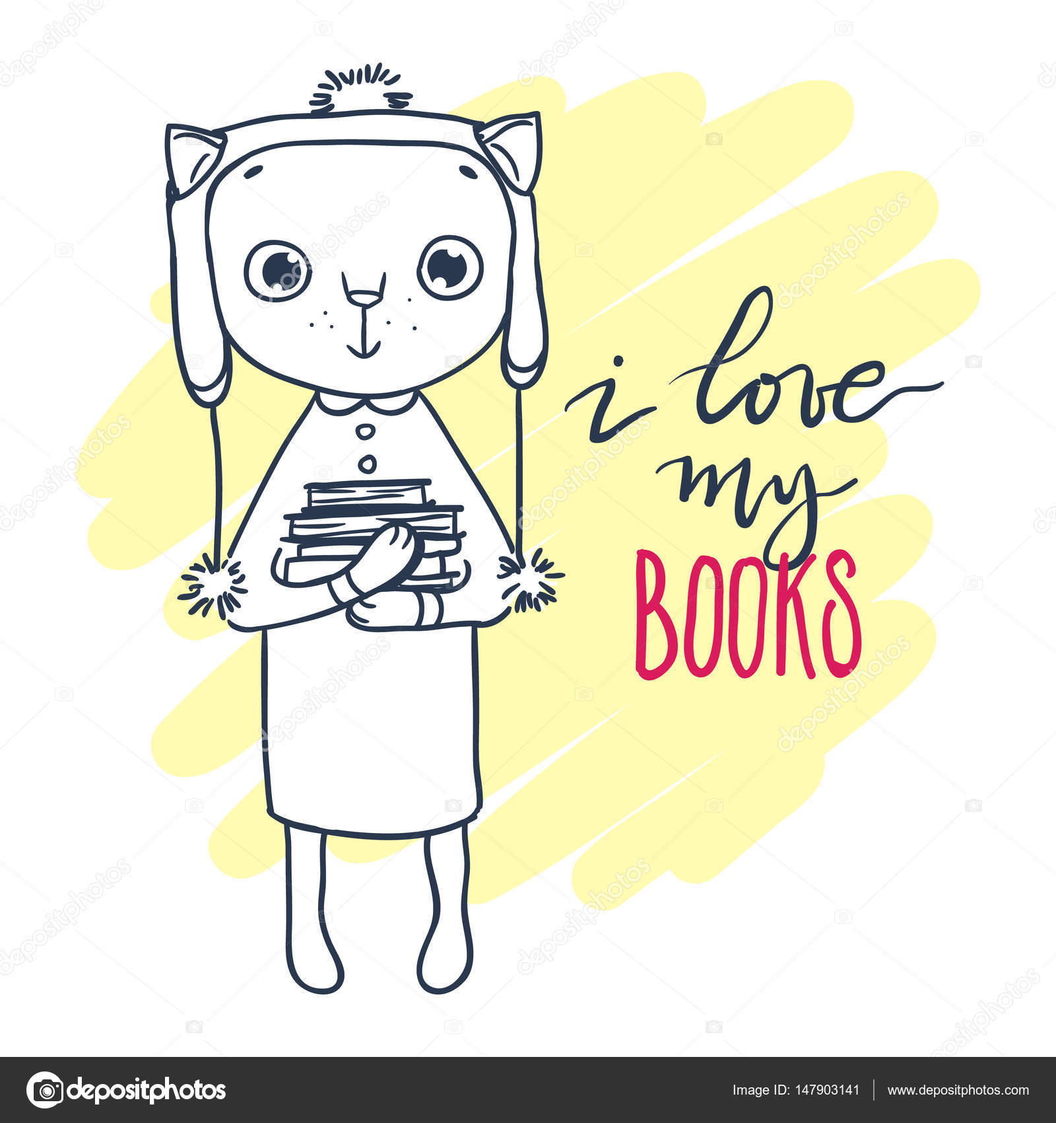 Lindo gatito con sombrero con libros. Inscripción: amo mis libros ...
