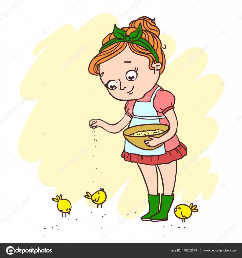 Linda niña alimentando pollos — Vector de stock © Vasilixa #148202589