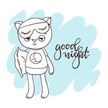 Cute little kitty. Inscription: good night. Hand-drawn contour f