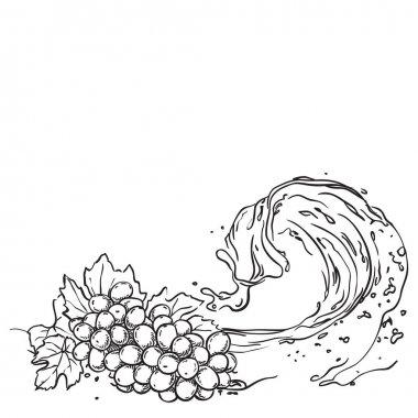 Grapes on wave juice. hand drawn sketch illustration
