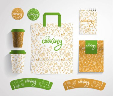 Home bakery identity design with food pattern, vector illustrati