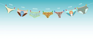 Funny female panties of different kinds on the rope. Days of the