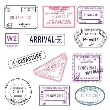 Big set of International travel visa stamps isolated on white. T