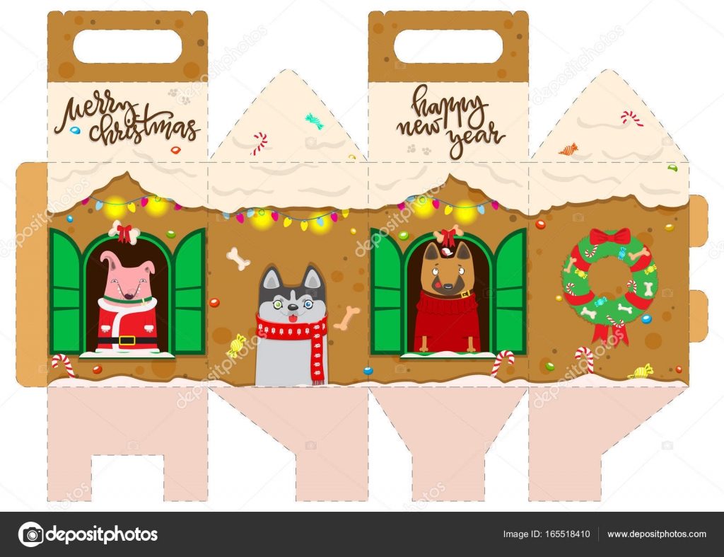 photograph about Printable Gingerbread House known as Printable present gingerbread Place with joyful canine. Fresh new Yr