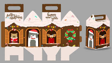 Printable gift gingerbread house with happy dogs. New Year Decor template house. Vector packaging design for sweets