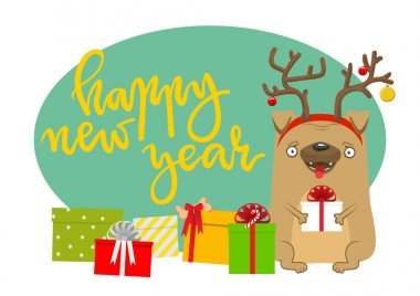 Happy New Year's dog. Symbol of the year 2018. Lovely pug with d