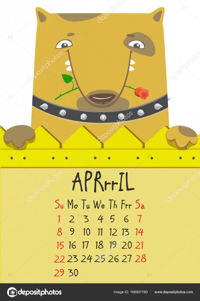 April Calendar Illustration : Simple digital cute dog calendar for april vector