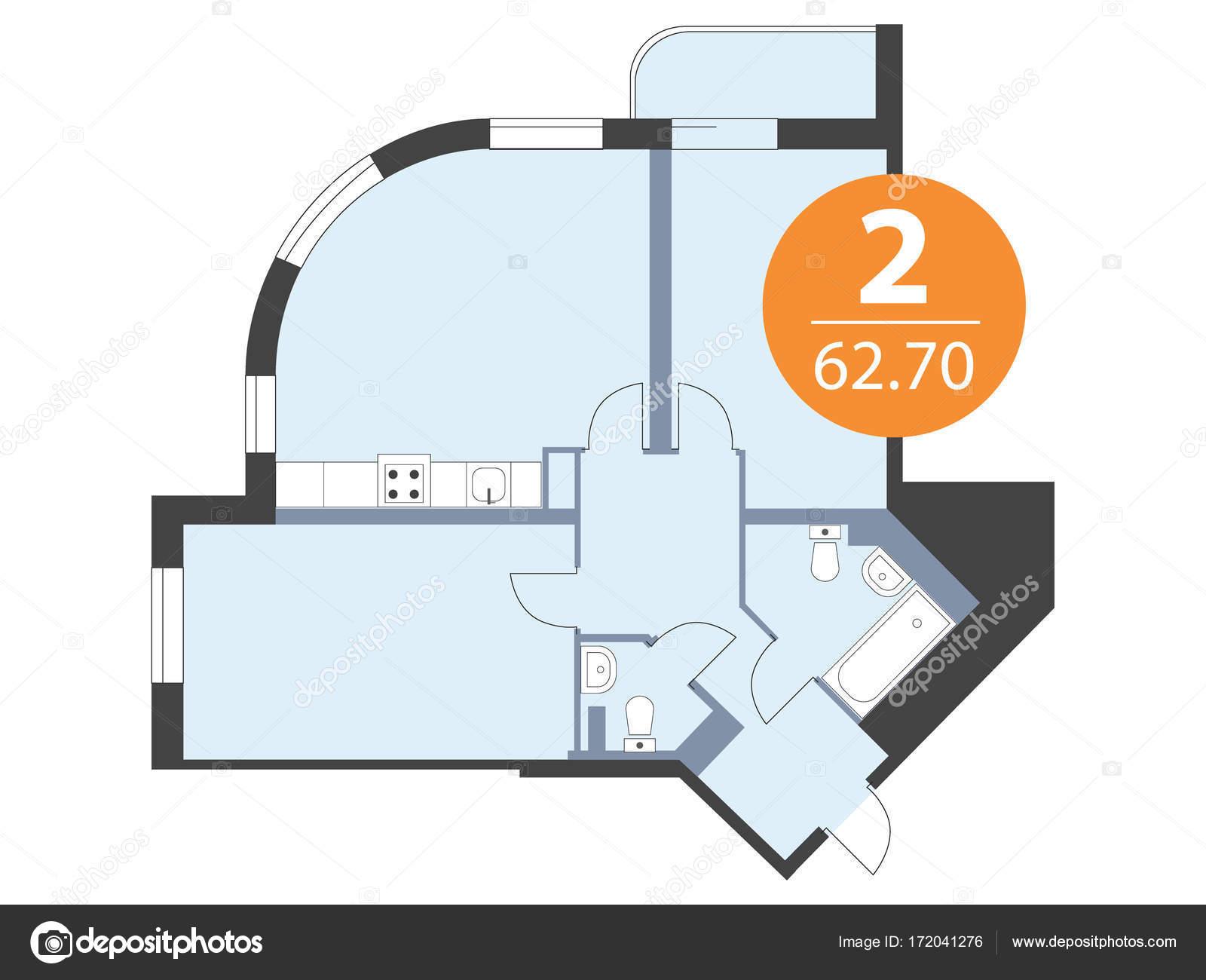 Grundriss der Wohnung Draufsicht. Vektor Blaupause Hausdesign ...