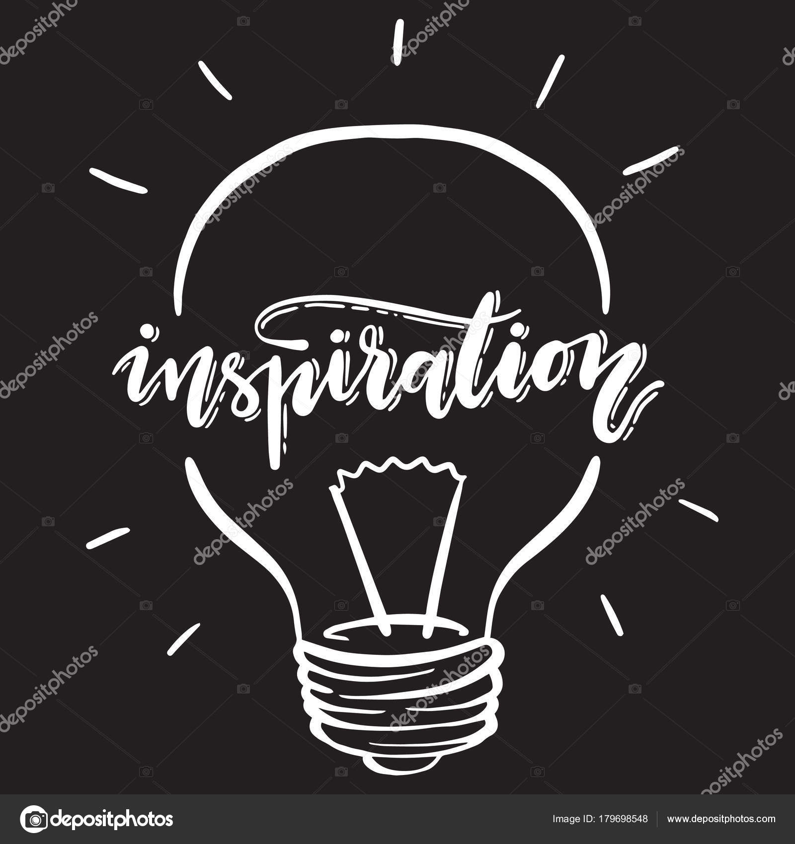 Inspiration Illustration With Handwritten Typography Vector Lightbulb Lettering Stock