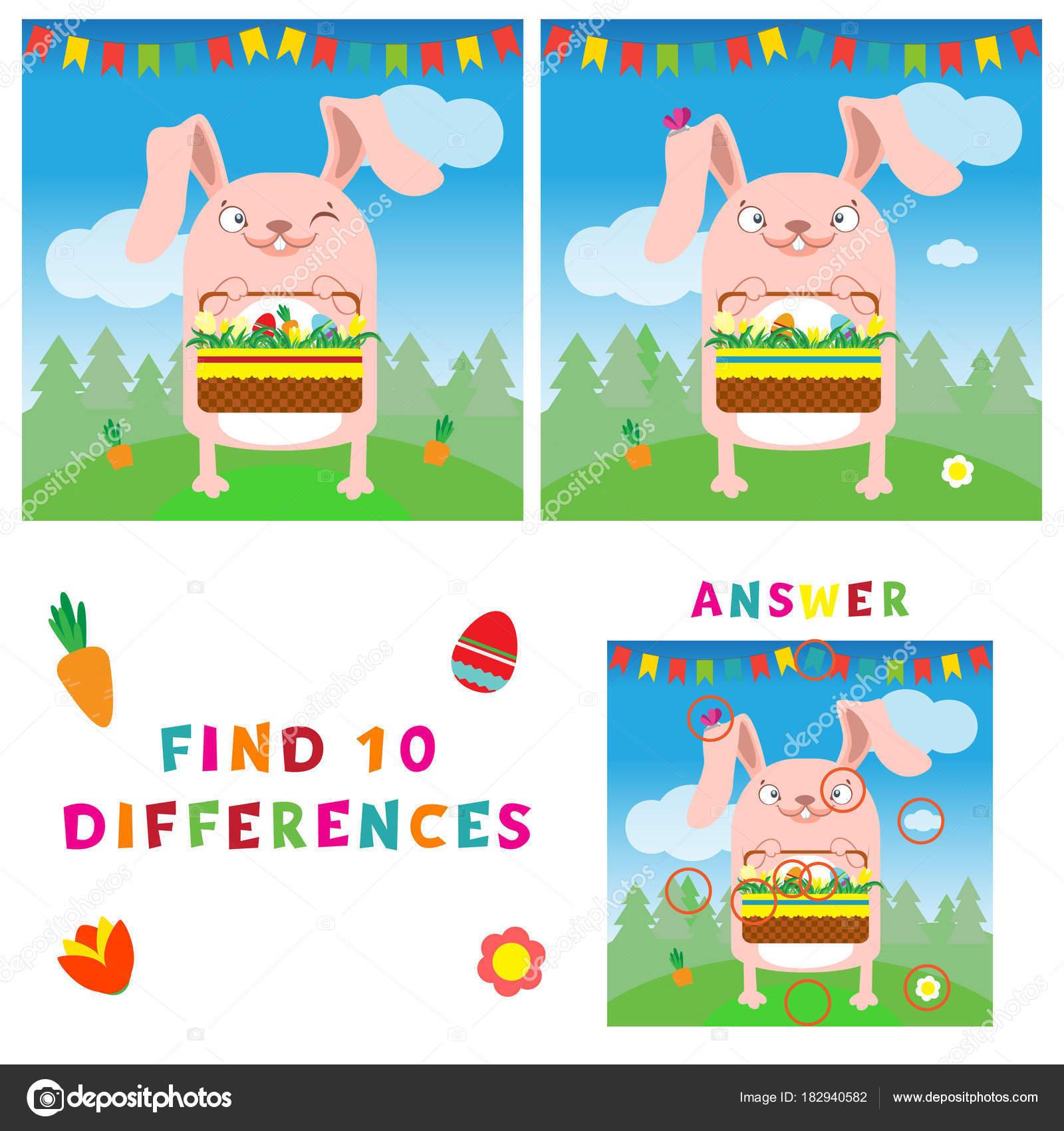 Finden Sie die zehn Unterschiede Illustration der Osterhase mit ...
