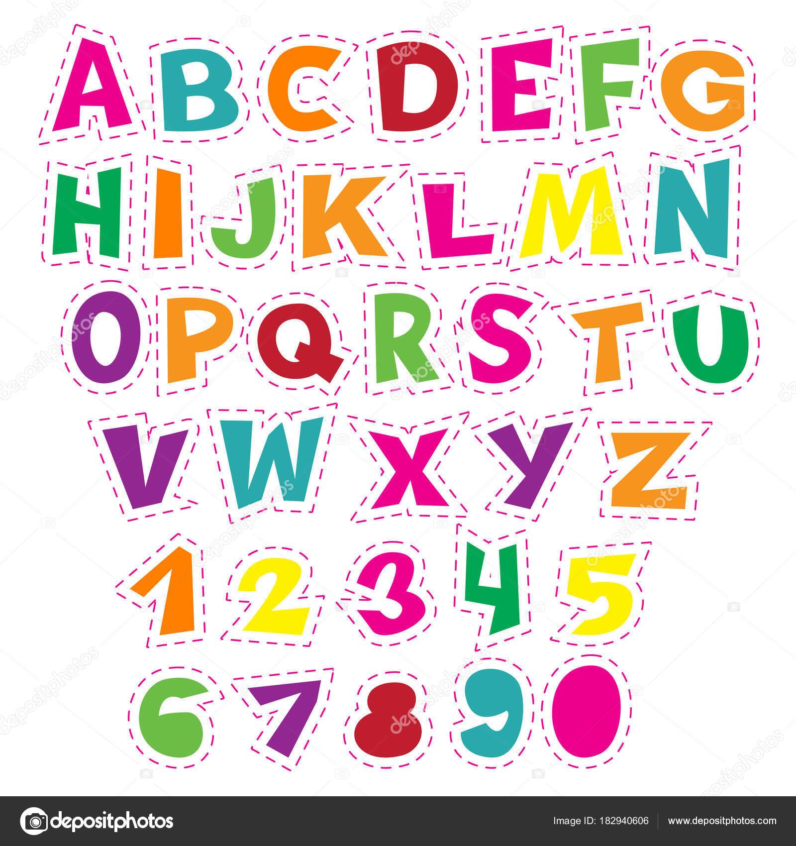 Alfabeto De Dibujos Animados Coloridos Para Ninos Coleccion