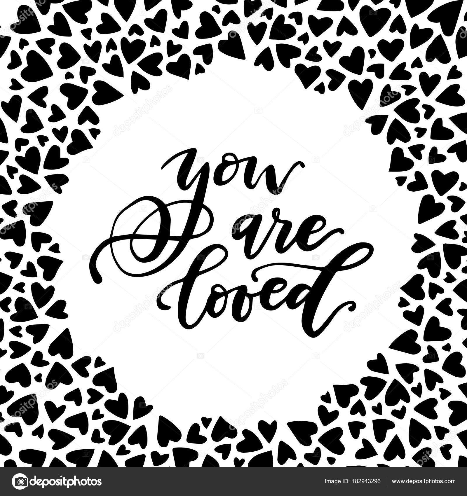 Você é Amado Frase Caligráfica Cercado Por Corações Cartão De Vetor