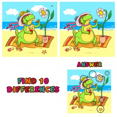 Find ten differences educational game for children. Vector colorful learning activity with crocodile on the beach