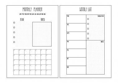 Weekly planner, monthly planner printable pages. Vector organizer template