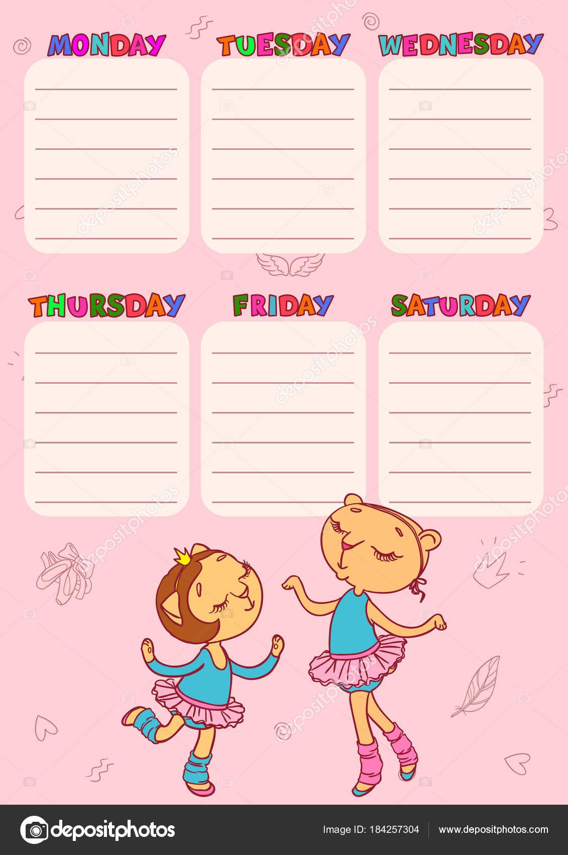 Calendario de escuela con gato-chicas lindas. Plantilla para ...