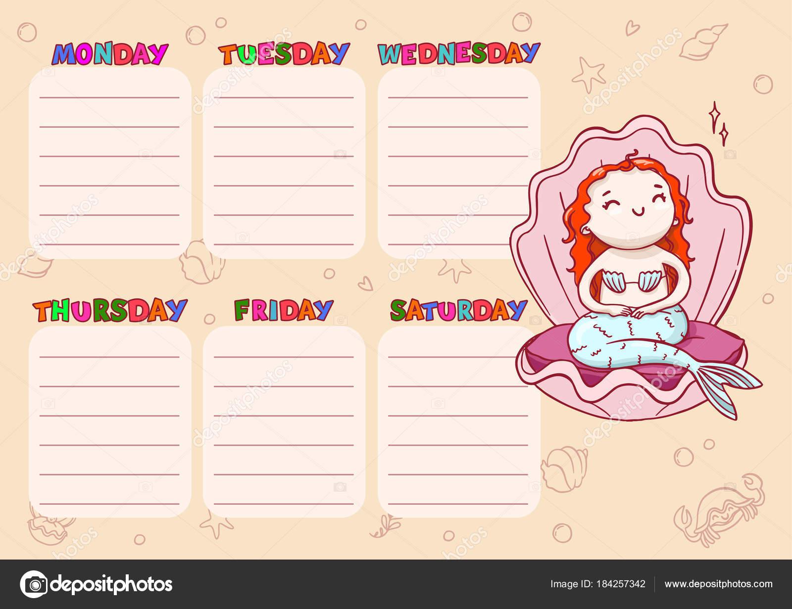 Diario horario escolar para los niños. Plantilla de dibujos animados ...