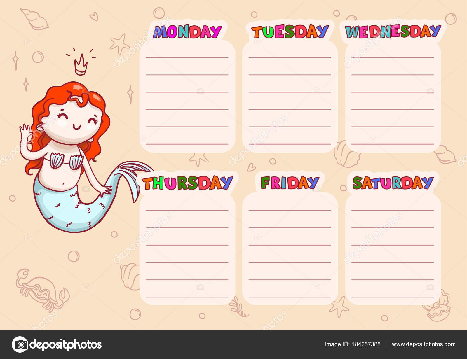 Escuela calendario con los días de semana para los niños. Plantilla ...