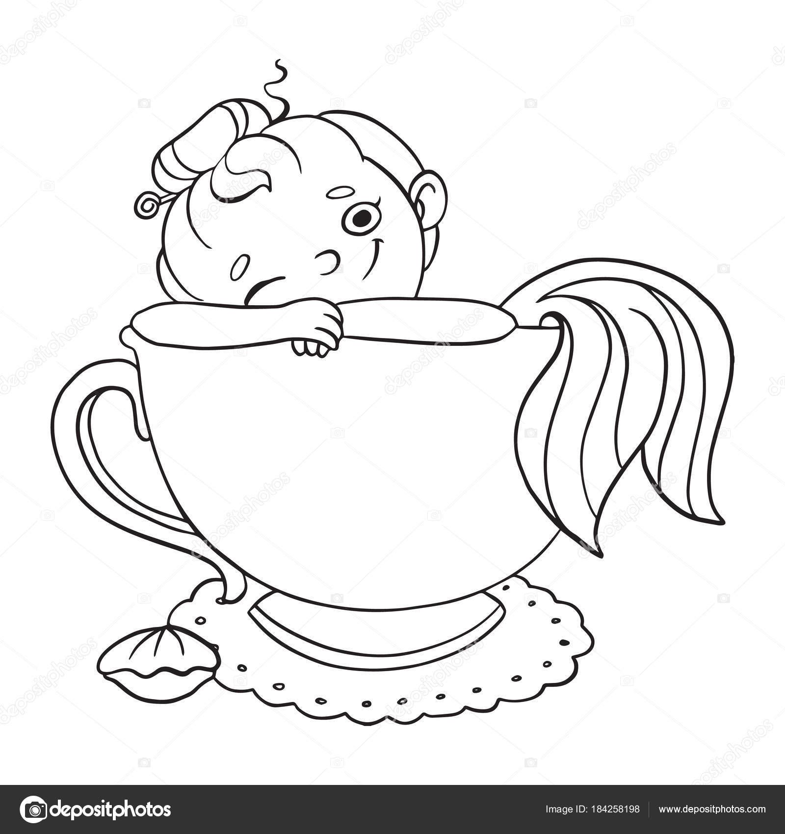Funny Cartoon Mermaid In A Cup Of Tea Vector Contour Illustration