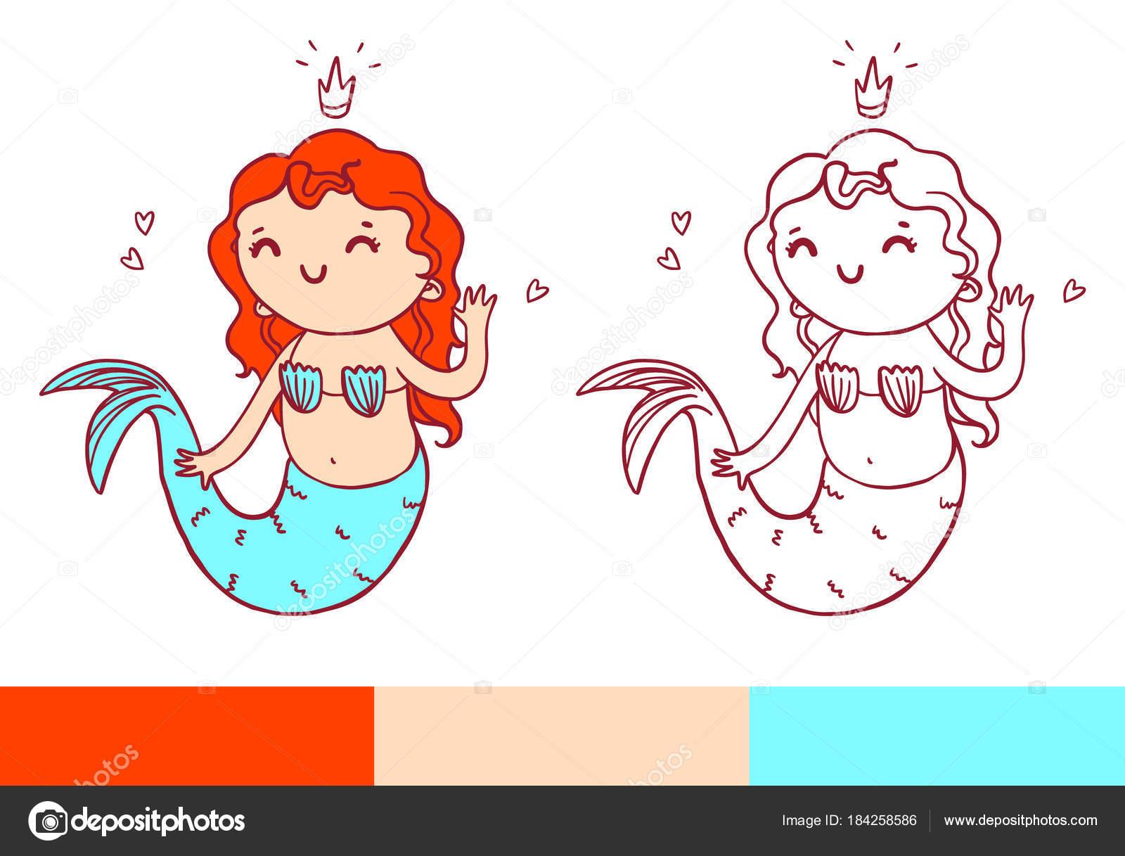 Página de libro para colorear con Sirenita. Temlate imprimible ...