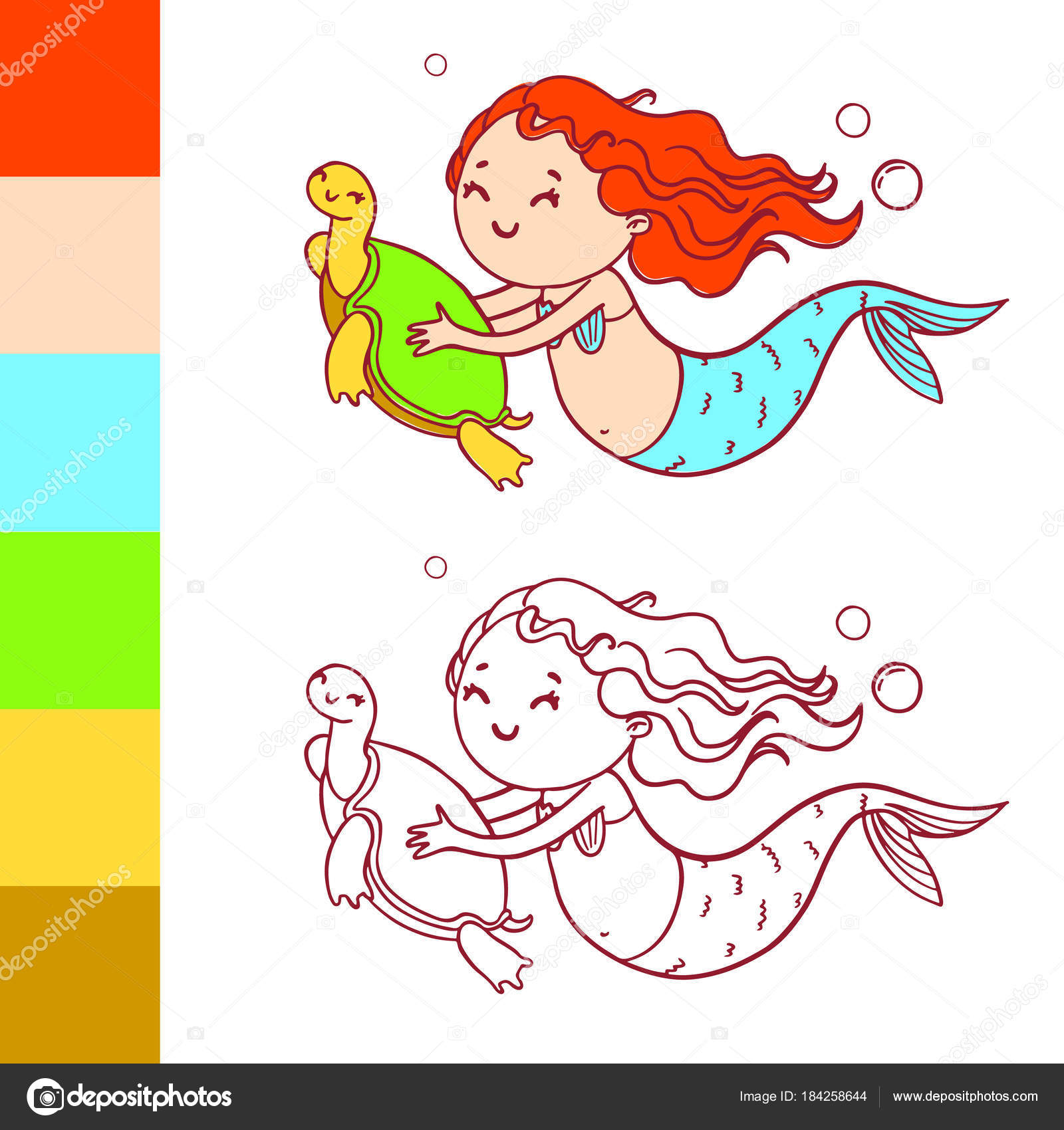 Süße Meerjungfrau mit Schildkröte. Coloring Book Seite mit Beispiel ...