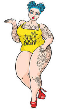 Curvy plump cartoon girl in retro pop art style. Vector isolated plus size woman with tattoos and blue hair