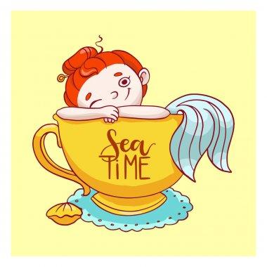 Cute little mermaid in cup. Vector illustration card. Hand drawn fairytale girl