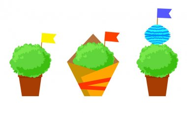 Manjerico isolated plants with flags. Santos Populares festival symbol