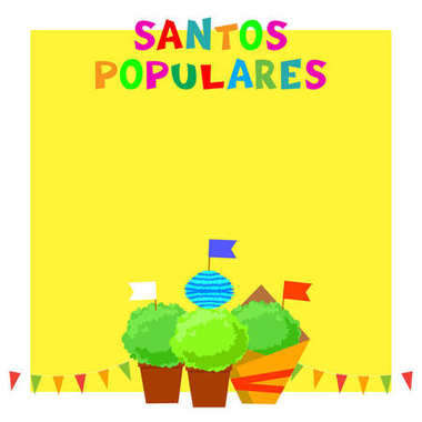 Santos Populares Portugues festival banner with bunting garlands, flags and manjerico plants