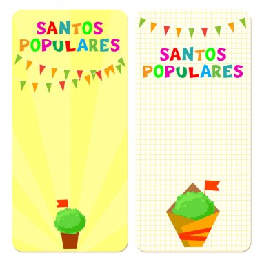 Santos Populares (Popular Saints) holiday template cards. Vectorillustrations with bunting garlands and manjerico (basil) plants