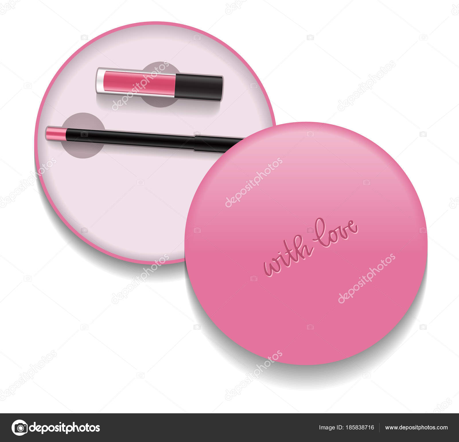 liquid lipstick and pencil in round cosmetic packaging vector