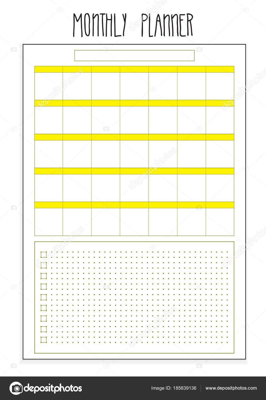 Monatliche Planer druckbaren Seiten. Vektor Organisator Vorlage ...