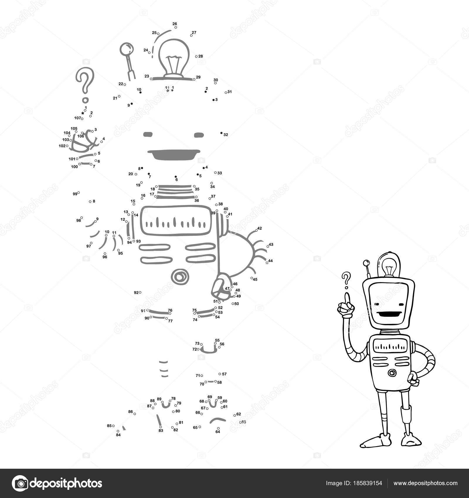 Verbinden Sie Punkte. Cartoon Roboter Bild, Vektor-Charakter. Spiel ...
