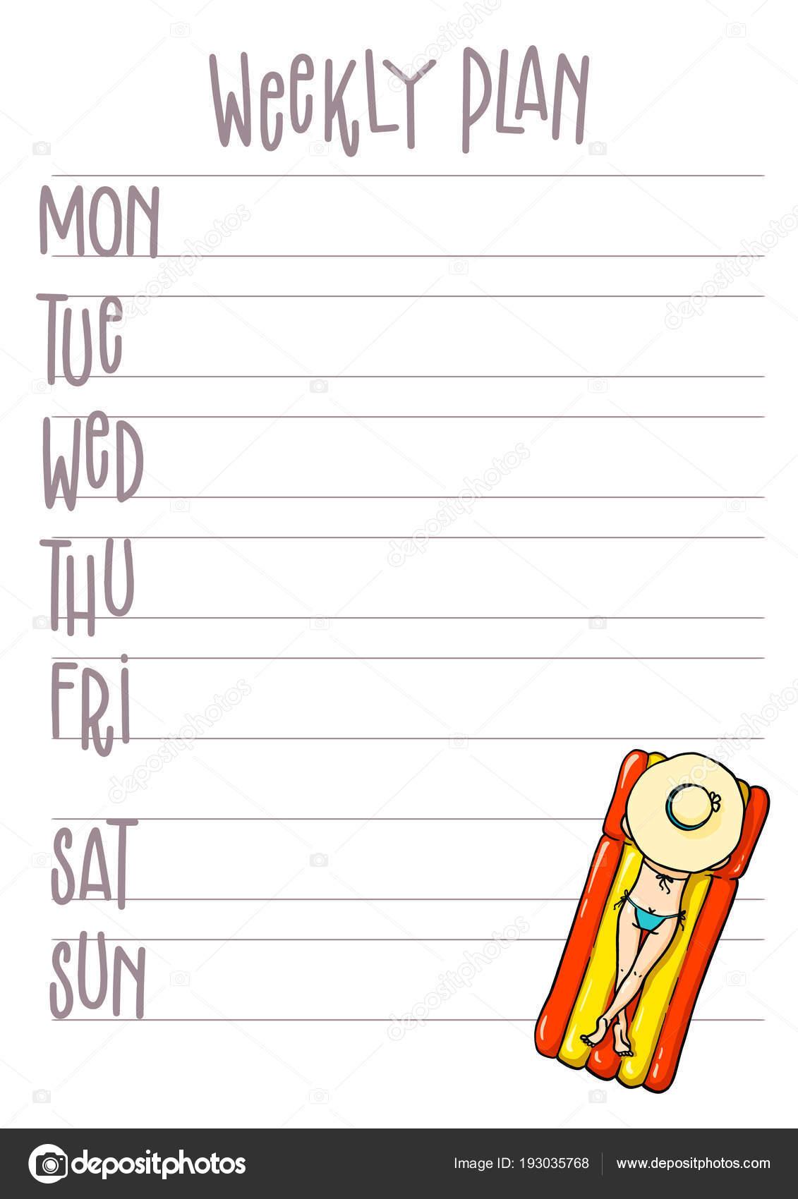 Página imprimible del plan de la semana. Plantilla de vector ...
