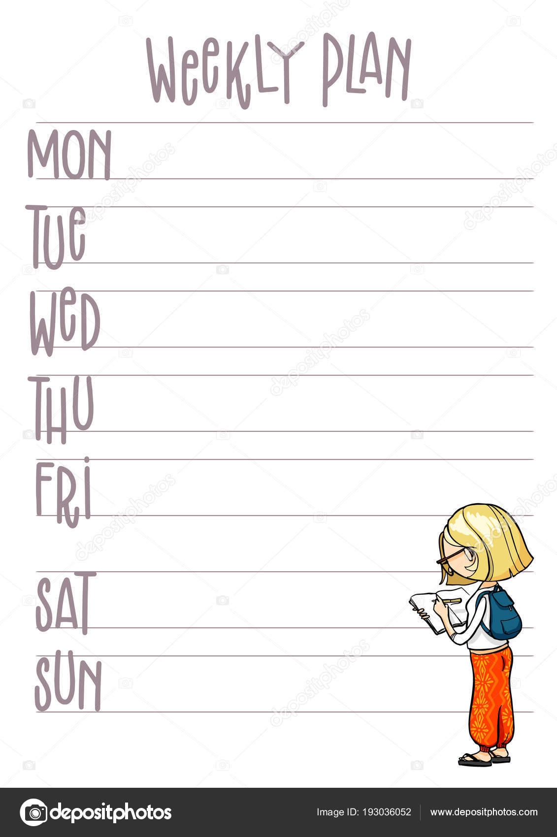 Wochenplan. Planer mit niedlichen Cartoon Charakter. Vektor ...