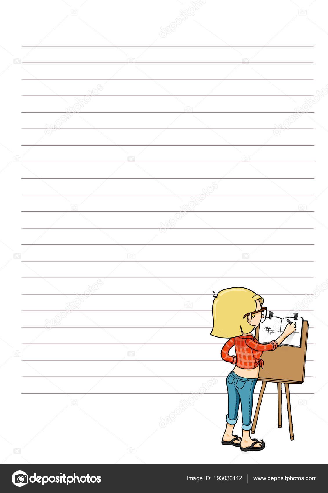 Seite für Notizen mit Cartoon-Figur. Tägliche, wöchentliche ...