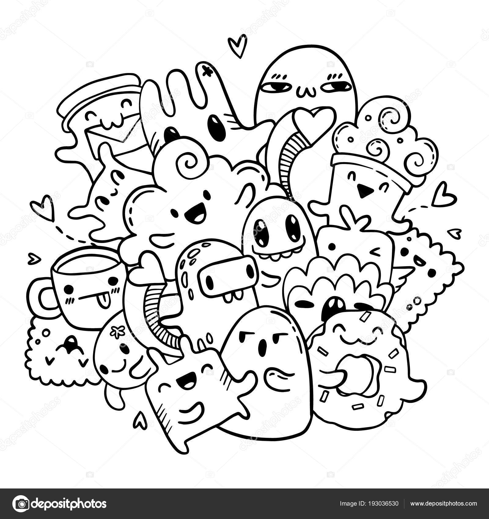 Cute Doodles Hand Drawn Pattern Vector Isolated Outline Set Of
