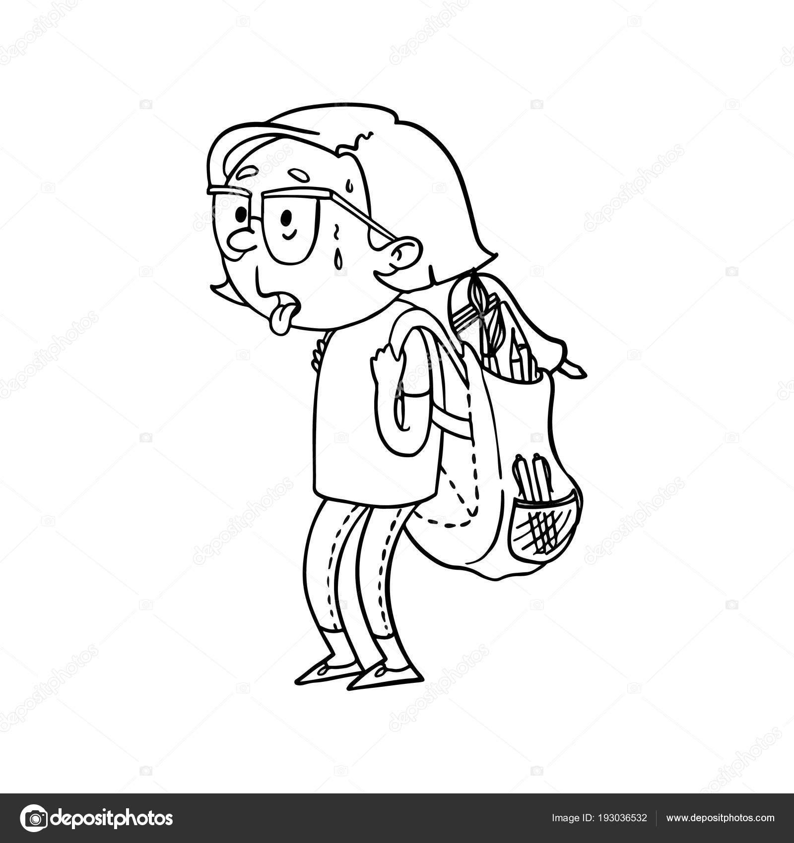 şirin Anahat Karikatür Yorgun Kız Kamp Içinde Yolculuk çantası Ile