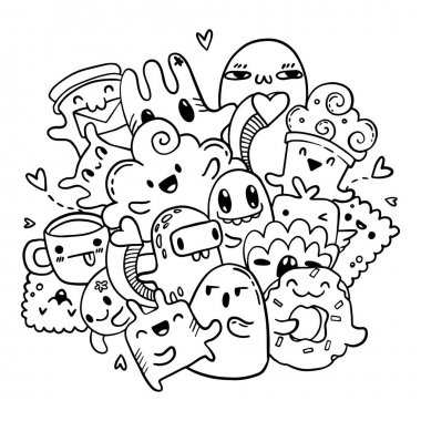 Cute doodles hand drawn pattern. Vector isolated outline set of cartoon monsters. Coloring book page