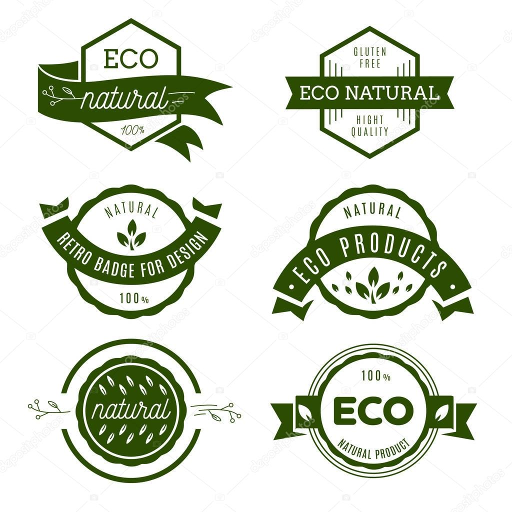 Eco icons, labels set. Organic tags. Natural product elements. L