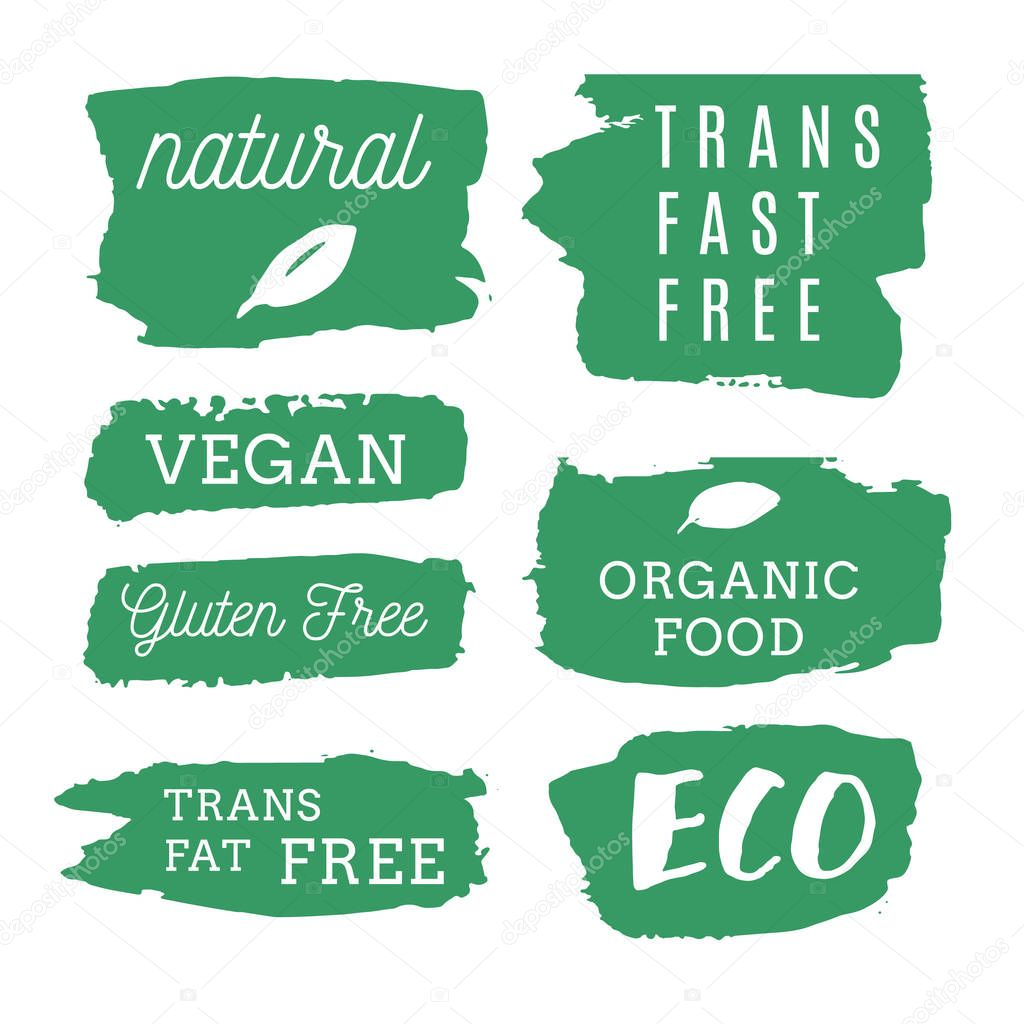 Healthy food icons, labels. Organic tags. Natural product elemen