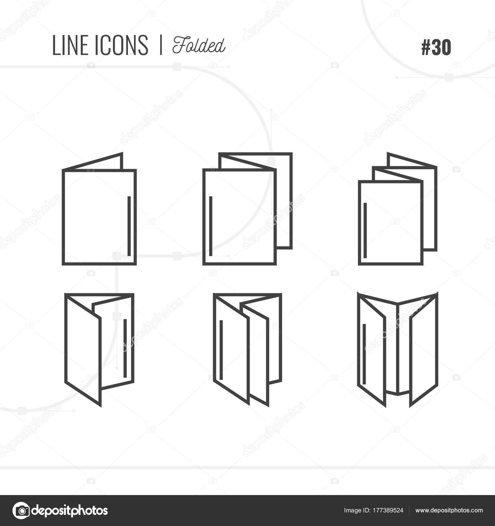 line icon of folded pamphlet flayer isolated object line ico