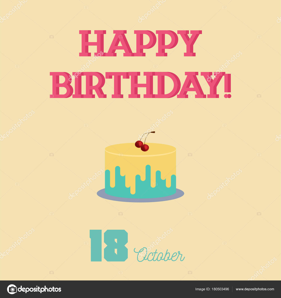 Happy Birthday Typography With A Flat Birthday Cake Stock Vector