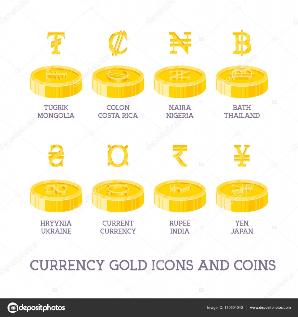 World Currency Signs And Coins Big Set Symbols Of Money And Gol