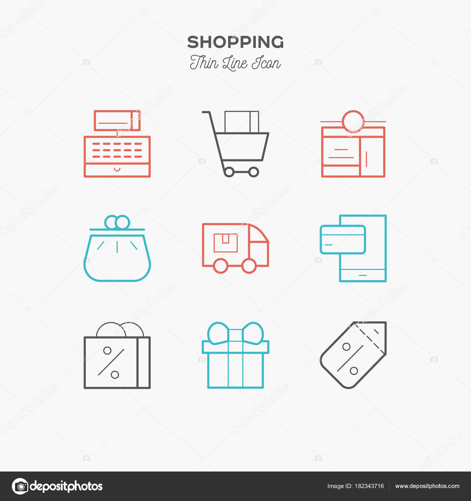 Simple Set Shopping Cart Related Vector Line Icons Contains Diagram Stock