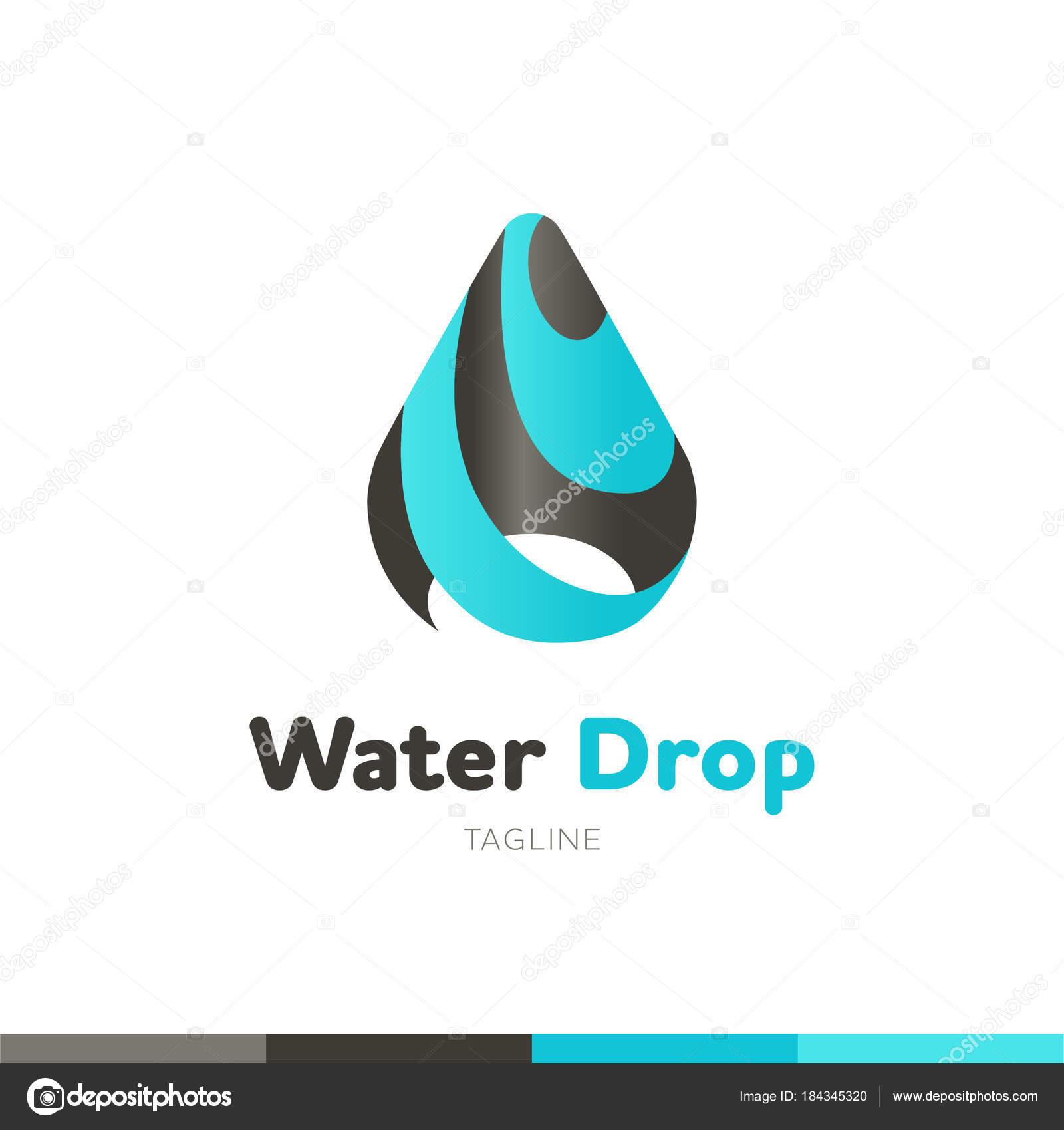 water drop logo abstract design vector template splash style wa